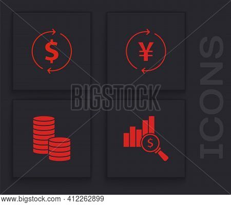 Set Pie Chart And Dollar, Financial Growth, Coin Money With Yen And Icon. Vector
