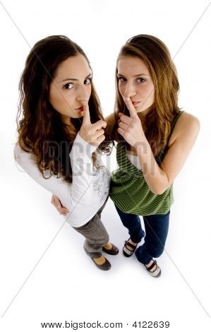 High Angle View Of Girls Asking To Keep Shushing