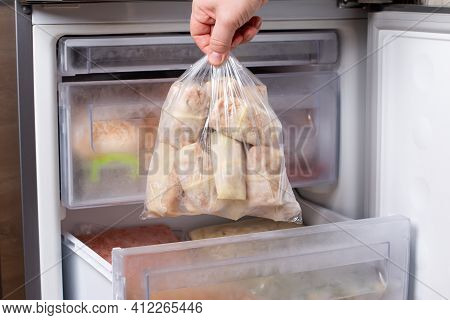 Frozen Stuffed Cabbage In The Bag In The Freezer. Semi-finished Product. Frozen Food