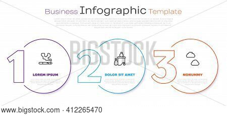 Set Line Cigarette, Full Dustbin And Cloud. Business Infographic Template. Vector