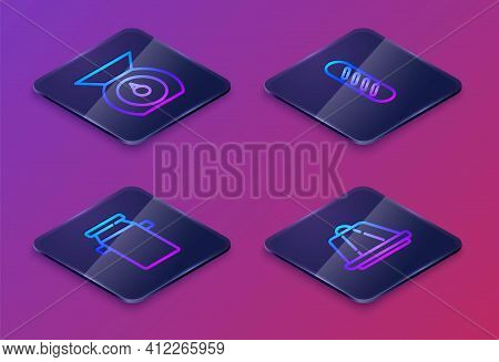 Set Isometric Line Scales, Can Container For Milk, French Baguette Bread And Pudding Custard. Blue S