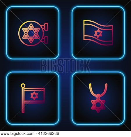 Set Line Star Of David Necklace On Chain, Flag Israel, Jewish Synagogue And . Gradient Color Icons.