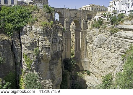 New Bridge, Most Important And Most Visited Monument In Ronda, Malaga, Andalusia, Spain