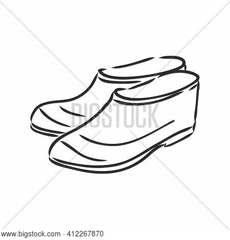 Trendy Old Cozy Styled Rainy Wellie Isolated On White Background. Freehand Outline Ink Hand Drawn Ic