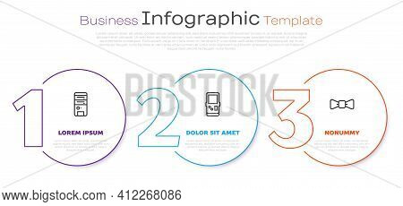 Set Line Computer, Tetris And Bow Tie. Business Infographic Template. Vector