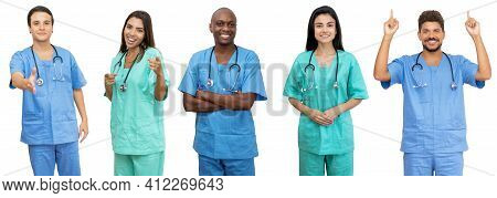Doctors And Nurses - Group Of Motivated Latin American And African And Caucasian Healthcare Workers