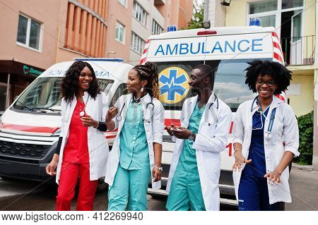 Group Of African Paramedic Ambulance Emergency Crew Doctors.