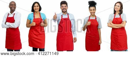 Waiters And Waitresses And Clerks - Group Of Laughing Latin American And African And Caucasian Worke