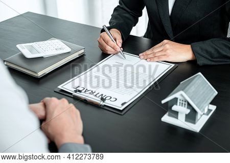 Real Estate Agent Working Sign Agreement Document Contract For Home Loan Insurance Approving Purchas