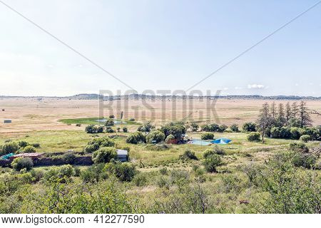Bloemfontein, South Africa - February 27, 2021: View Of Farm Windhoek, A Working Farm Which Offer A