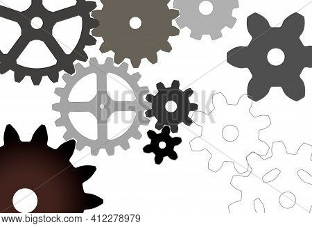 Gear Mechanisms Of Different Sizes And Types Isolated On White. Set Of Gear Wheels, Some Interlockin