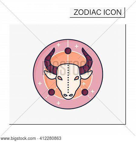 Taurus Color Icon. Bull Symbol. Second Fire Sign In Zodiac. Mystic Horoscope Sign. Bullfight, Corrid