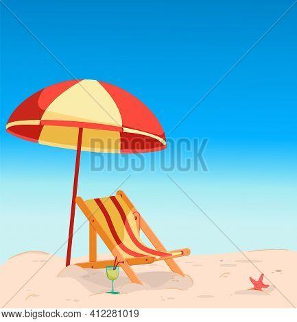 Deck Chair On The Beach Under An Umbrella.