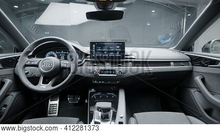 Germany, Berlin - March 2021: Modern Black Interior Of New Car. Action. Stylish And Improved Interio