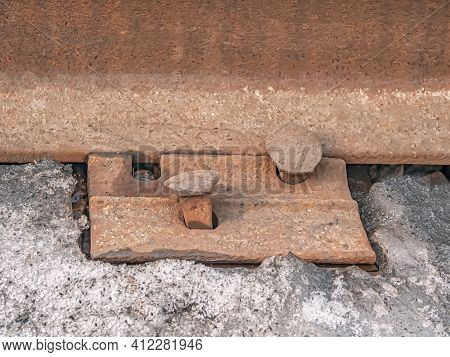 Rail Spikes. Also Known As A Cut Spike Or Crampon. A Rail Fastening System.