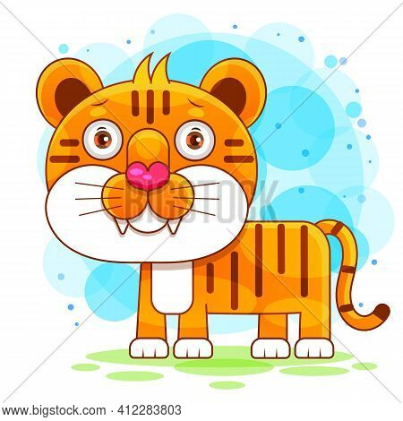 Flat Vector Cute Tiger Open Mouth Roar, Born To Roar, Cute Animal Character Idea For Child And Kid P