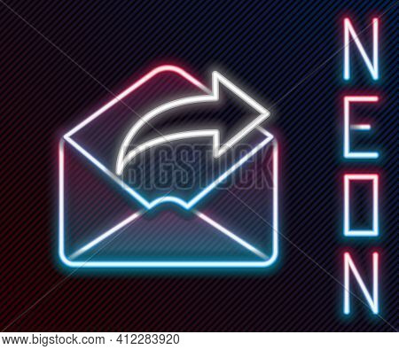 Glowing Neon Line Outgoing Mail Icon Isolated On Black Background. Envelope Symbol. Outgoing Message