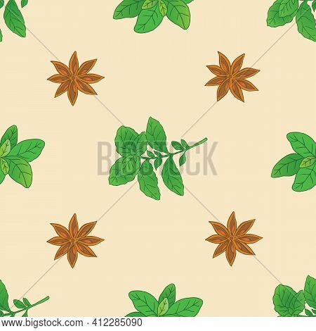 Vector Graphic Illustration Basilic Plant Seamless Pattern-01