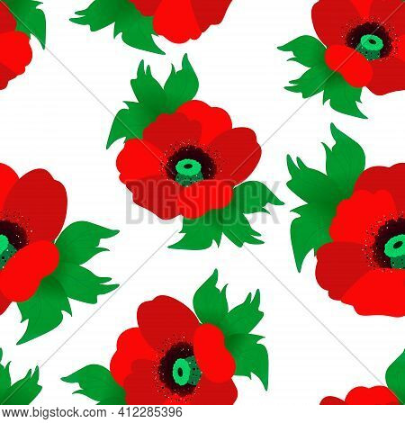 Seamless Pattern With Red Poppies. Blooming Red Poppies, Repeating Continuous Pattern For Design, Ve