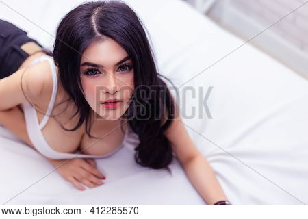 Sexy Young Woman Lay Down On Bed Charming Beauty Female Has Beauty Face Attractive Beautiful Girl Po