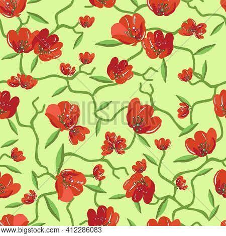 Seamless Pattern With Red Blooming Bouquets. Spring Flowers. Floral Background For Textile Or Book C