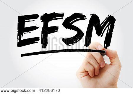 Efsm - European Financial Stabilisation Mechanism Acronym With Marker, Business Concept Background