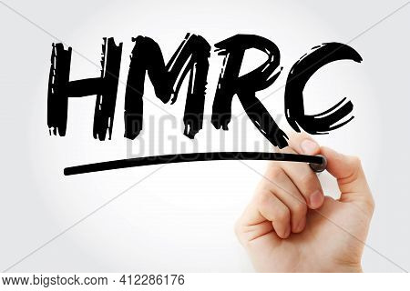 Hmrc - Her Majesty's Revenue And Customs Acronym With Marker, Business Concept Background