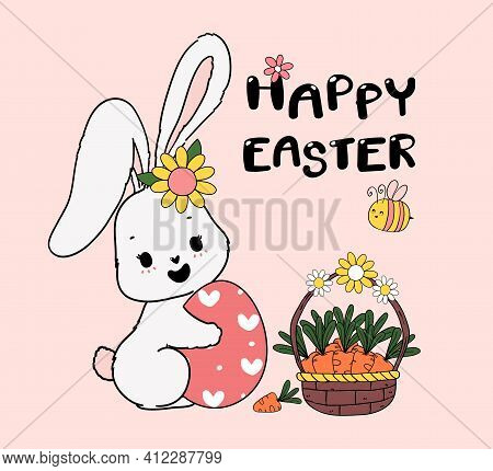 Cute Spring Bunny Hug Easter Egg With Basket Of Carrot And A Bee. Happy Spring Easter, Cute Cartoon