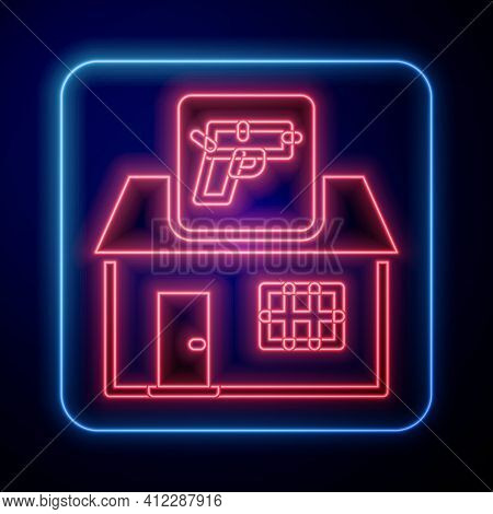 Glowing Neon Hunting Shop With Rifle And Gun Weapon Icon Isolated On Blue Background. Supermarket Or