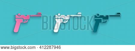 Paper Cut Mauser Gun Icon Isolated On Blue Background. Mauser C96 Is A Semi-automatic Pistol. Paper