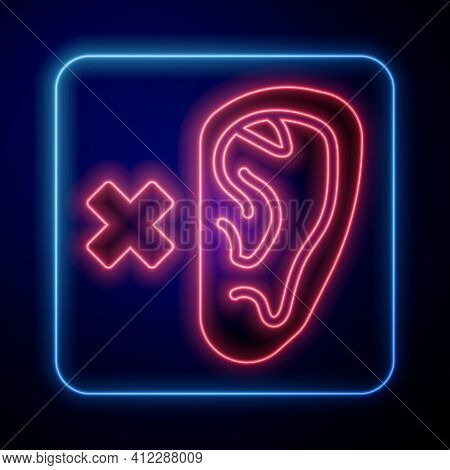 Glowing Neon Deafness Icon Isolated On Blue Background. Deaf Symbol. Hearing Impairment. Vector