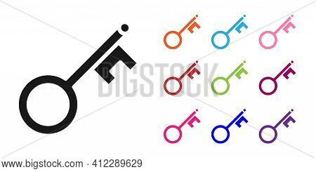 Black Old Key Icon Isolated On White Background. Set Icons Colorful. Vector