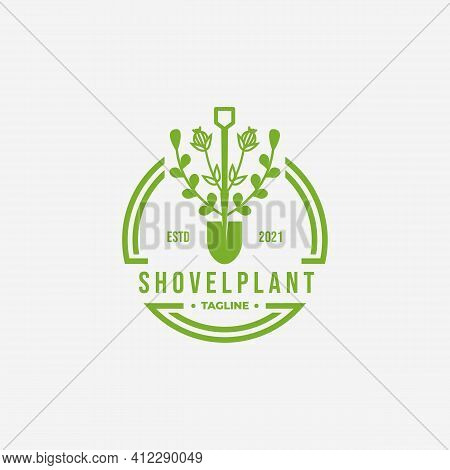 Green Shovel Environment Vintage Logo, Vector Illustration Design Of Evergreen Catnip Garden Concept
