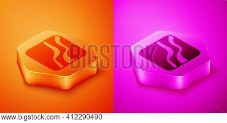 Isometric Snake Paw Footprint Icon Isolated On Orange And Pink Background. Hexagon Button. Vector