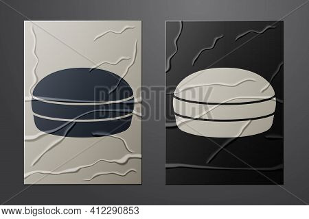 White Macaron Cookie Icon Isolated On Crumpled Paper Background. Macaroon Sweet Bakery. Paper Art St
