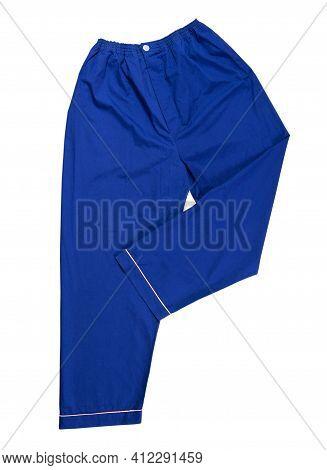 Blue Pants On A White Background, Sleep Pants Close Up. Sleep Pants