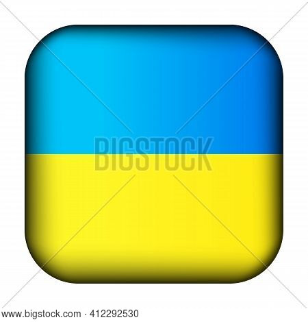 Glass Light Ball With Flag Of Ukraine. Squared Template Icon. Ukrainian National Symbol. Glossy Real