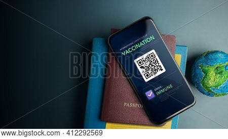 Digital Health Vaccine Passport For Coronavirus Or Covid-19 Concept. Traveller Using Mobile Phone Wi