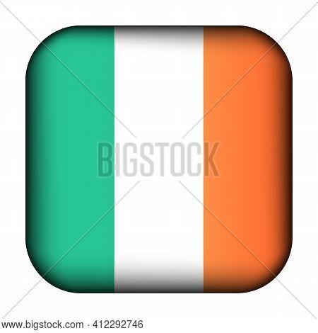 Glass Light Ball With Flag Of Ireland. Squared Template Icon. Irish National Symbol. Glossy Realisti