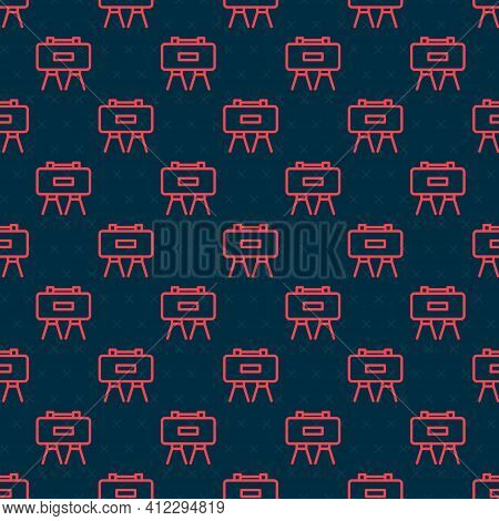 Red Line Military Mine Icon Isolated Seamless Pattern On Black Background. Claymore Mine Explosive D