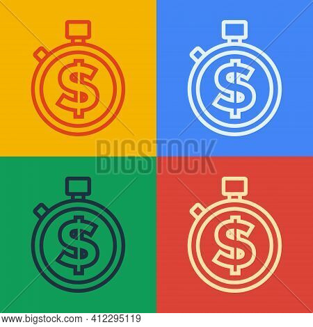 Pop Art Line Time Is Money Icon Isolated On Color Background. Money Is Time. Effective Time Manageme