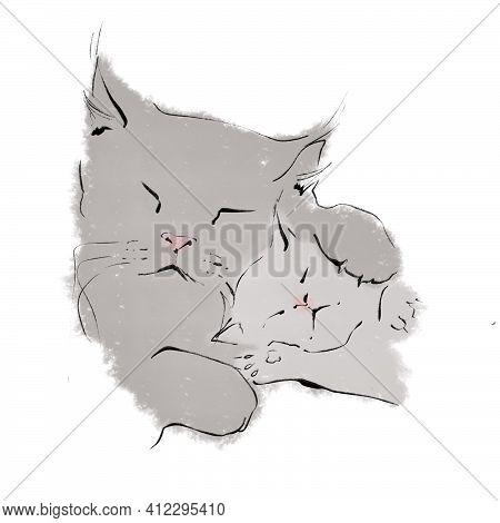 Cute Illustration Sketch Mom Cat Hugs Kitten Pic