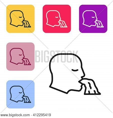 Black Line Vomiting Man Icon Isolated On White Background. Symptom Of Disease, Problem With Health.