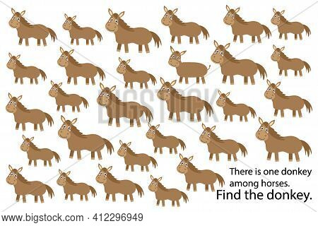Find Donkey Among Horses, Education Puzzle Game For Children, Preschool Worksheet Activity For Kids,