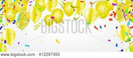 Vector Party Balloons Gold Illustration. Confetti And Ribbons Flag Ribbons, Celebration Background T
