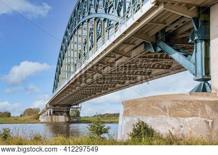 Iron Arch Bridge Over River Ijssel Near Dutch City Zwolle