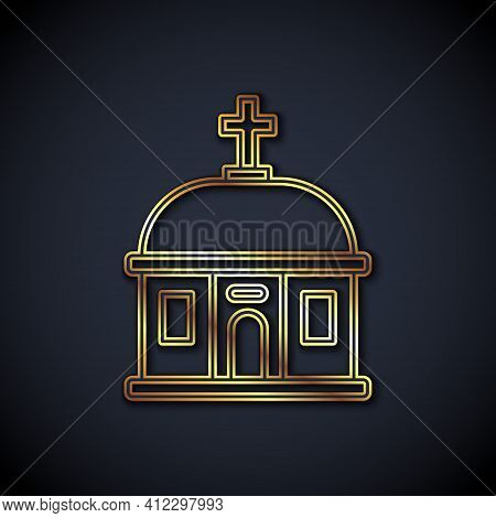 Gold Line Santorini Building Icon Isolated On Black Background. Traditional Greek White Houses With