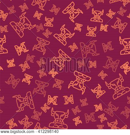 Brown Line Minotaur Icon Isolated Seamless Pattern On Red Background. Mythical Greek Powerful Creatu