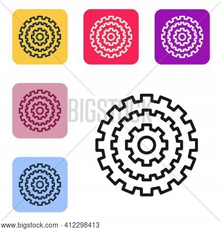 Black Line Bicycle Cassette Mountain Bike Icon Isolated On White Background. Rear Bicycle Sprocket.