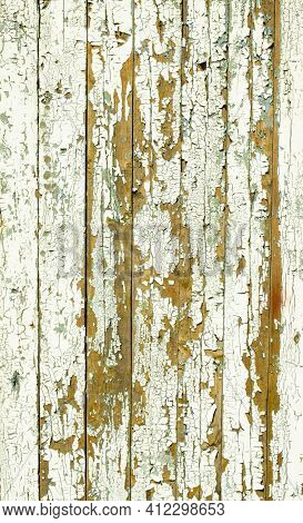 Vintage Wood Background With Peeling Paint. Old Board With Irradiated Paint. White Wooden Texture, W